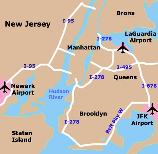 Mapa Aeroportos de Nova Iorque
