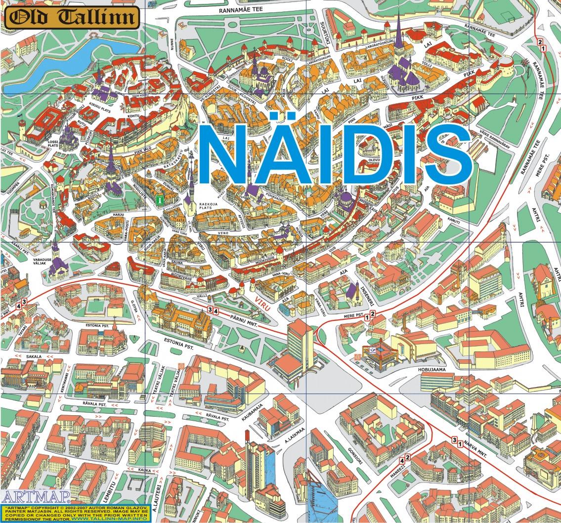 Mapa do Centro Historico de Tallinn
