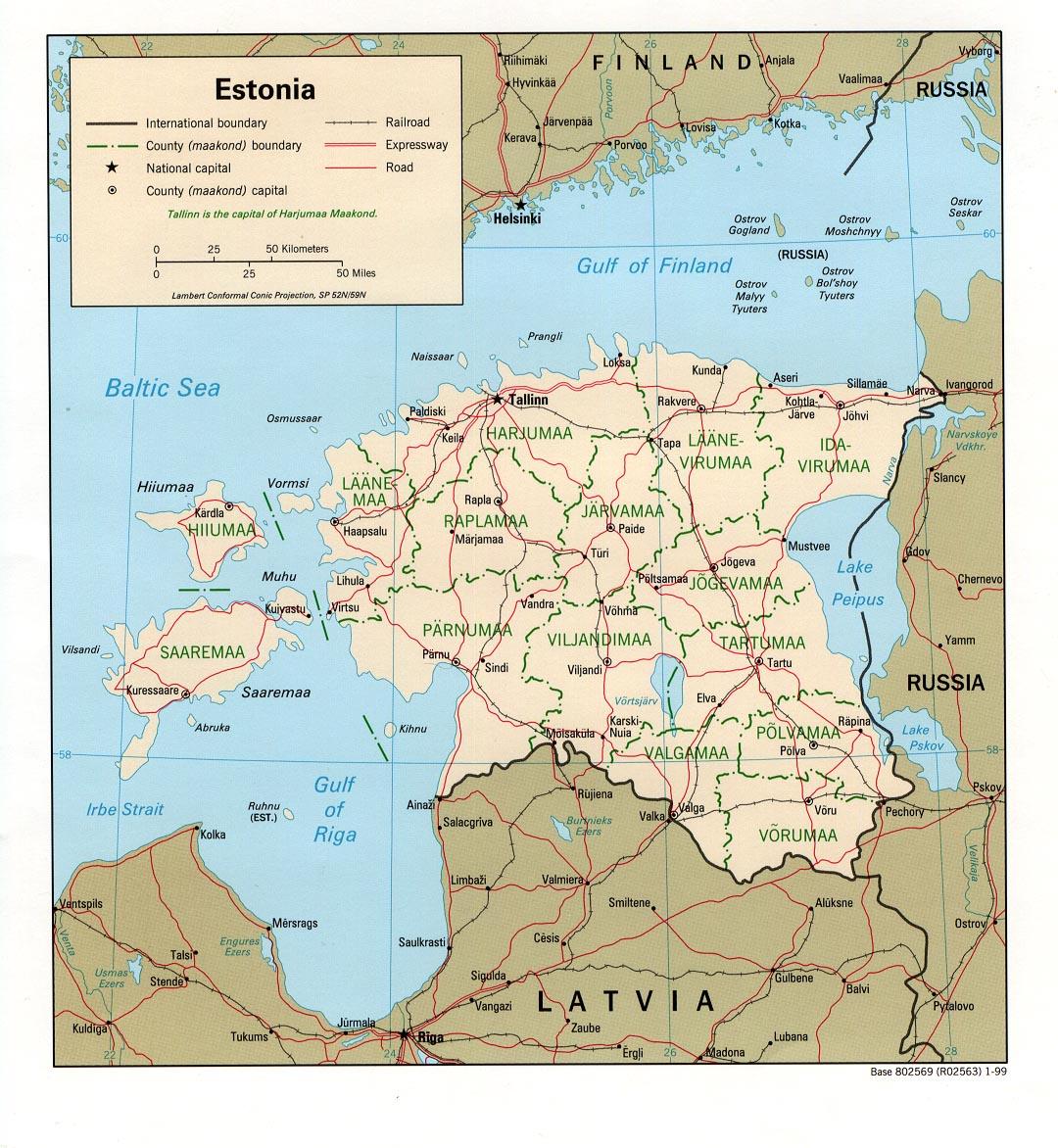Mapa Grande da Estonia