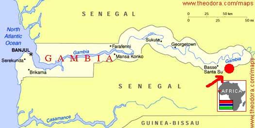 Mapa da Gambia