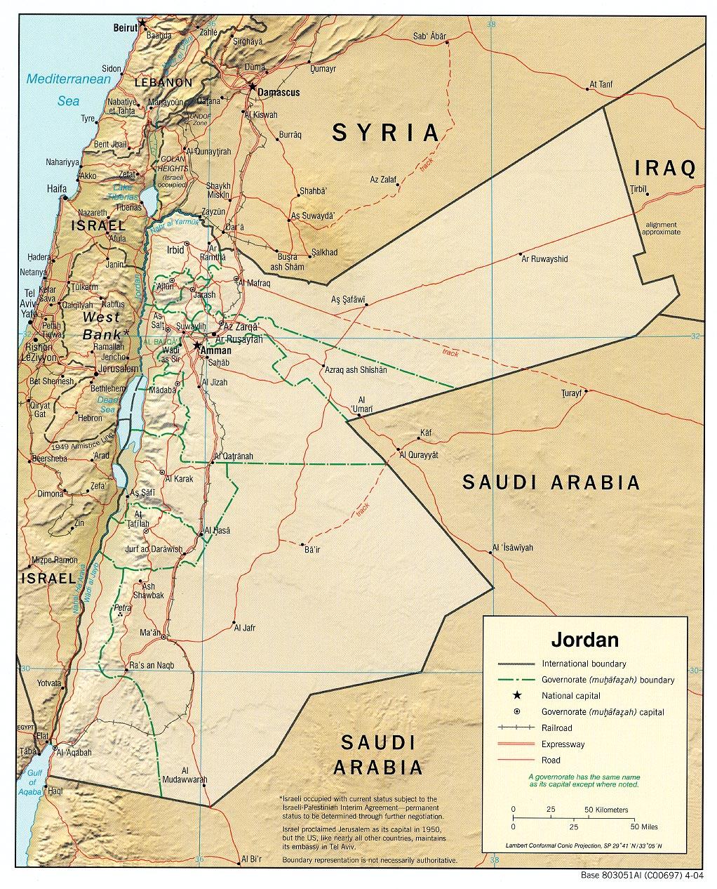 Mapa Grande da Jordânia