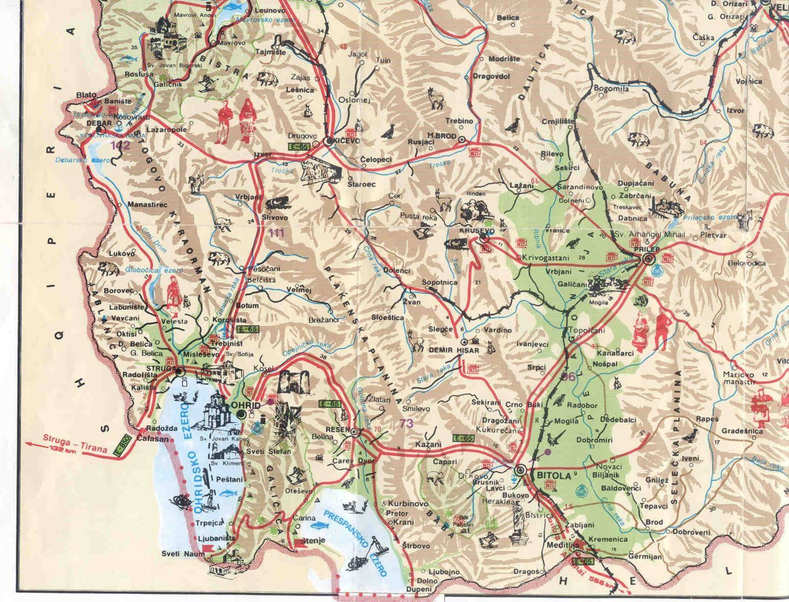 Mapa do Sudoeste da Macedónia