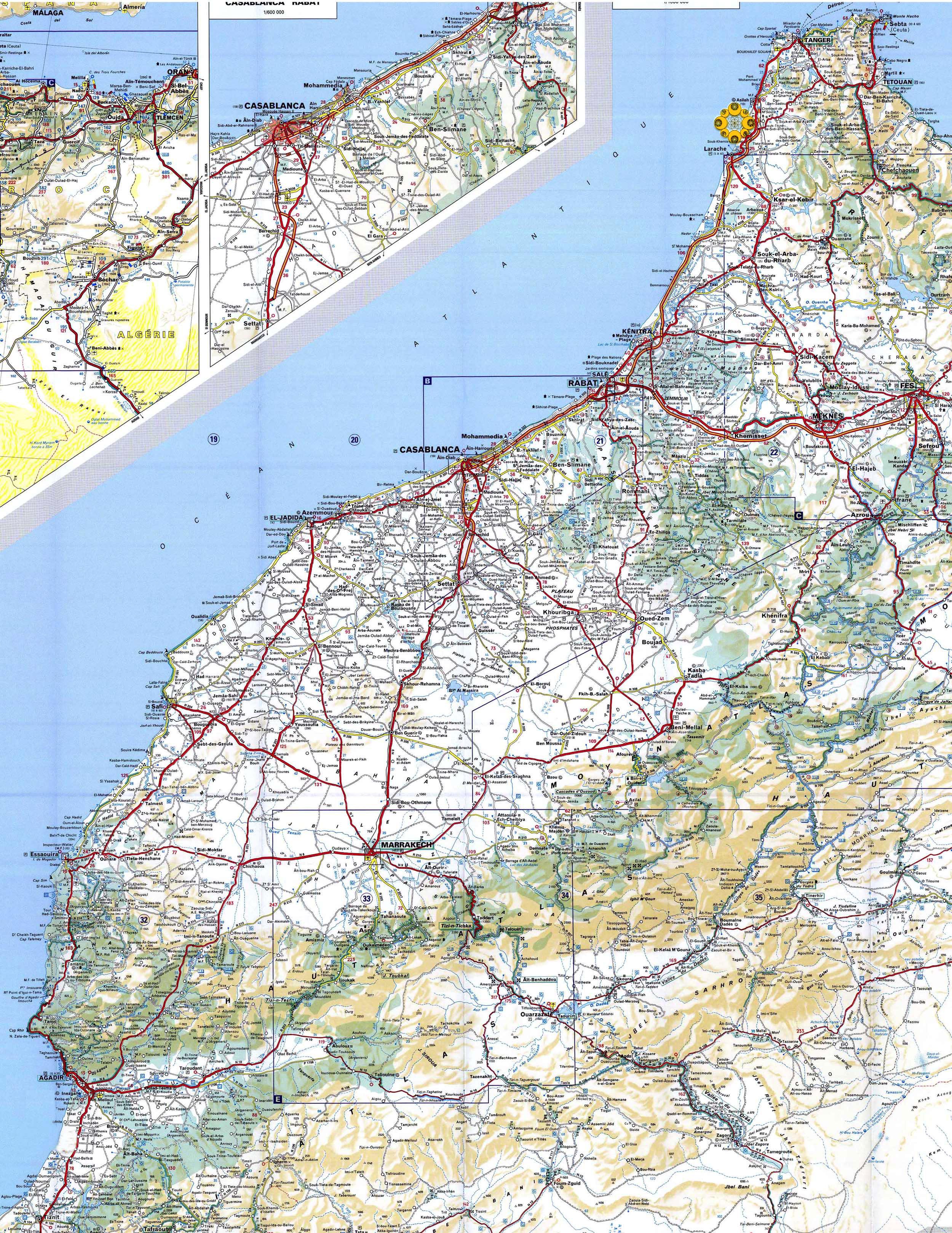 Mapa de Estradas Marrocos