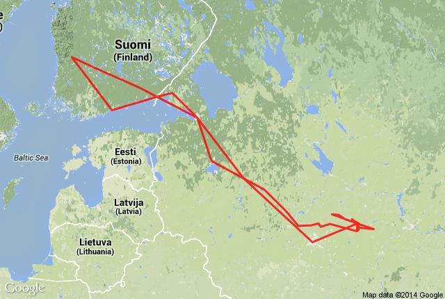 Mapa Finlândia até Rússia - Conduzir / Dirigir na Europa