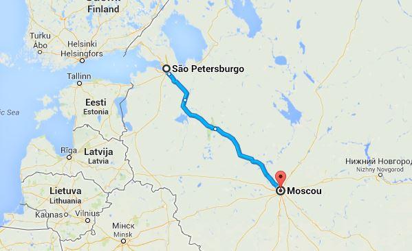 Mapa do percurso São Petersburgo-Moscovo 824km