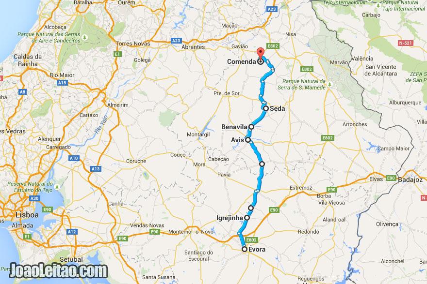 Mapa de viagem de bicicleta pelo Alentejo, Portugal