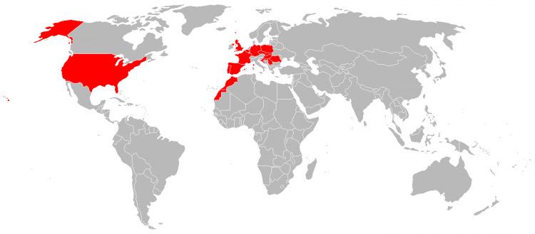 Mapa de Viagens em 2001