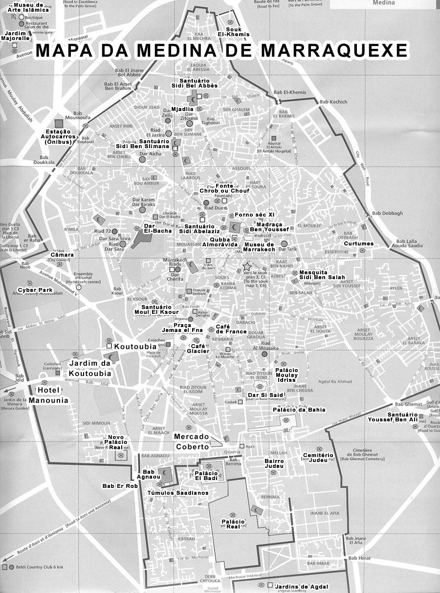 Mapa dos Principais Monumentos de Marraquexe