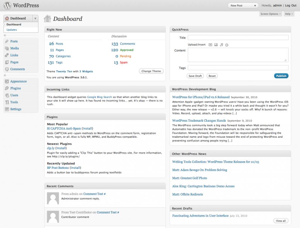 O Dashboard do WordPress, o gerenciador do seu site