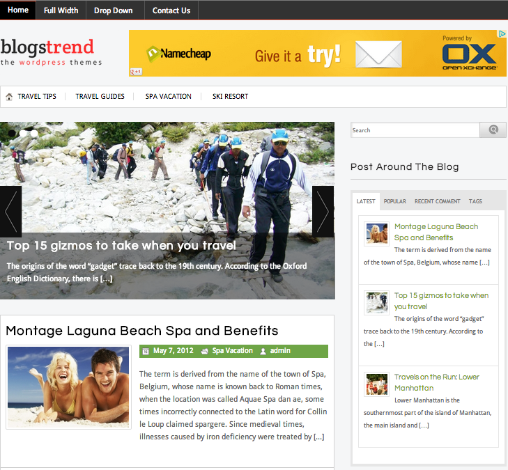 Blog Strend Travel Blog Theme para WordPress-site