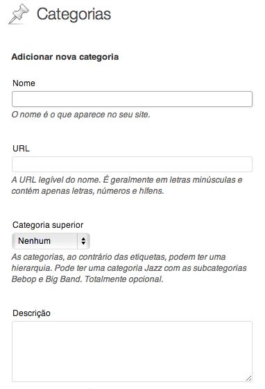 Criar categorias com o site WordPress