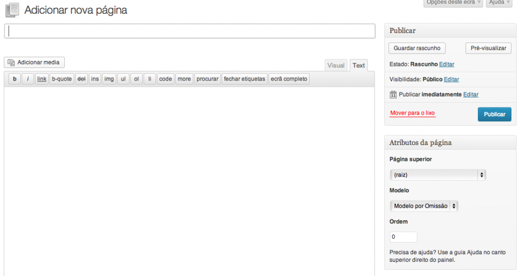 Criar nova pagina no site WordPress