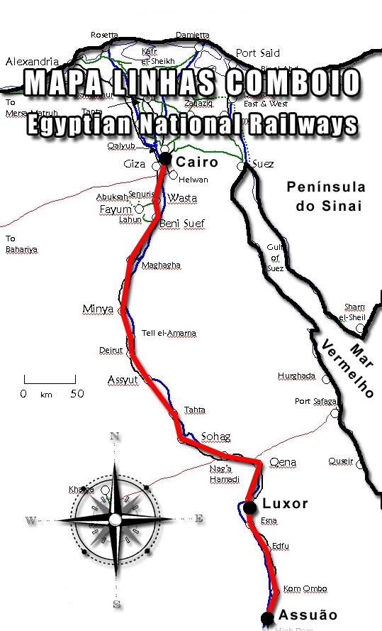 Mapa linha de comboio Cairo Luxor Assuão