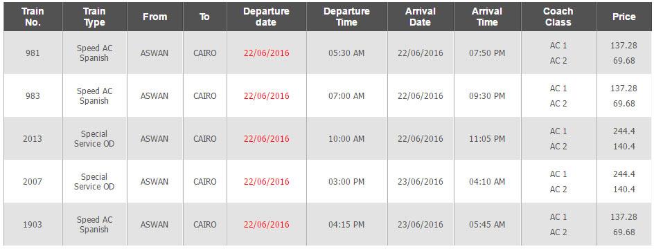 Horários e Preços do Comboio Aswan até Cairo