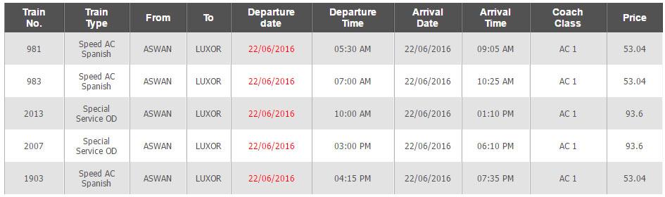 Horários e Preços do Comboio Aswan até Luxor