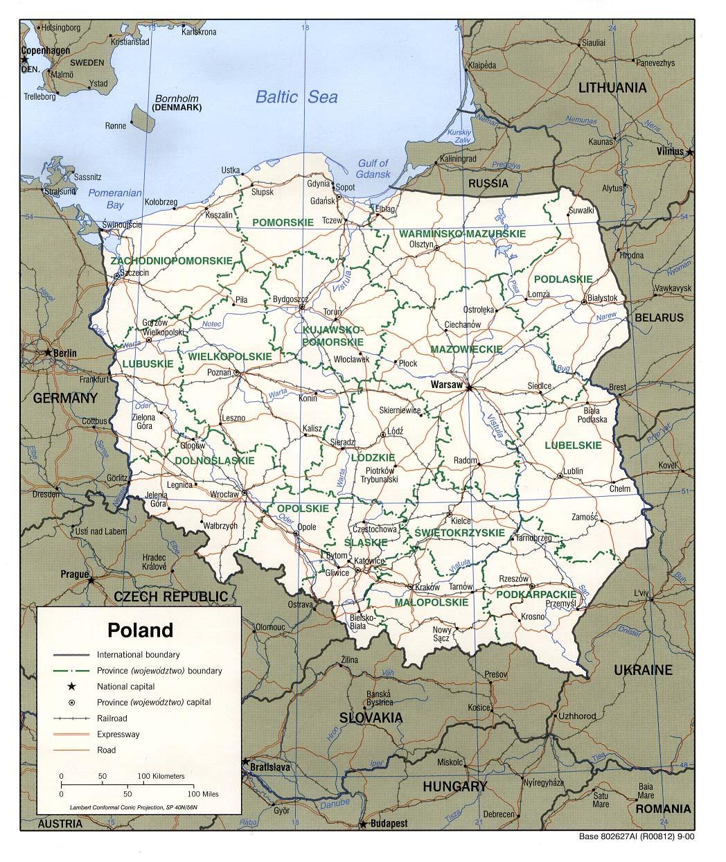 Mapa Político da Polónia