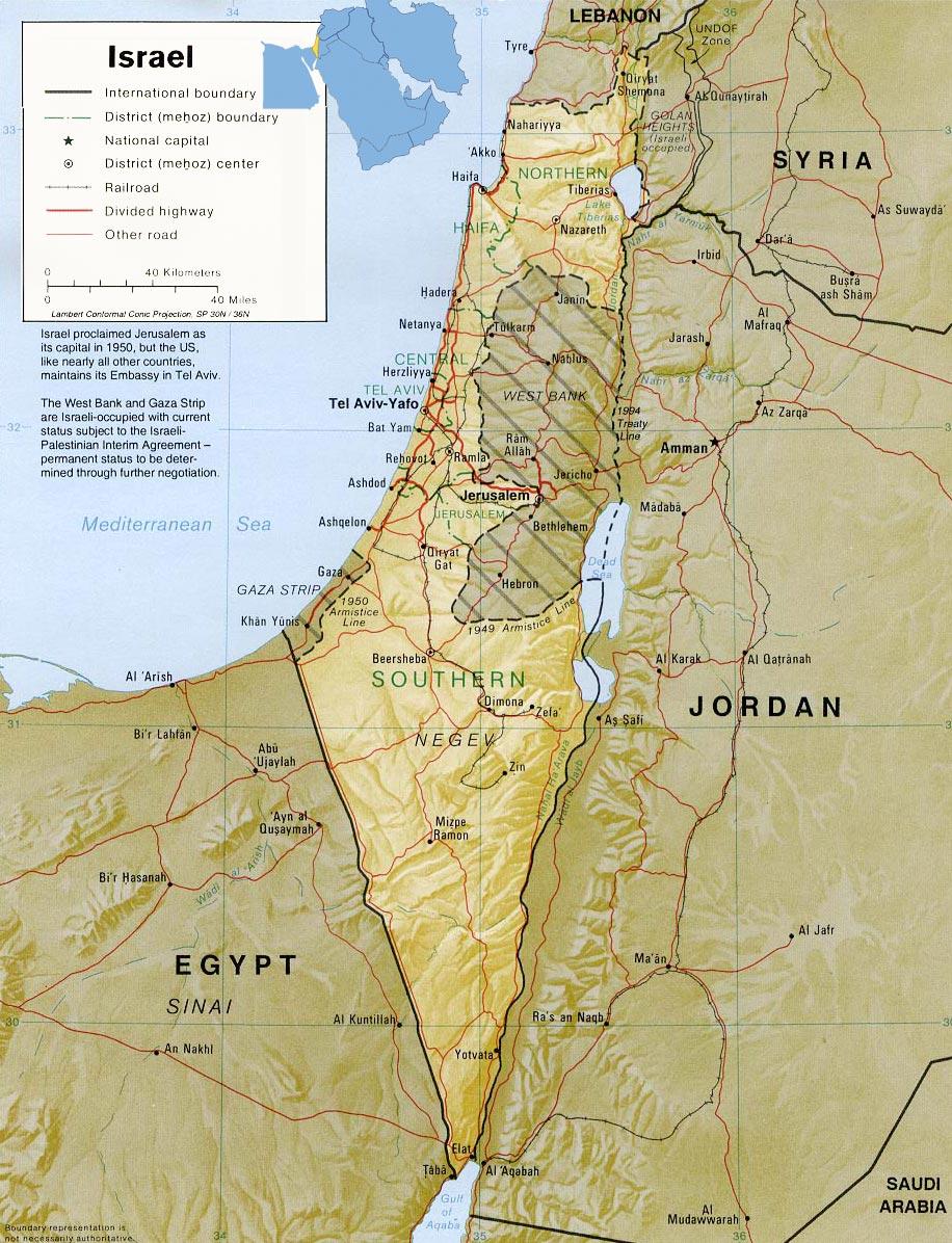 Mapa Israel e Palestina