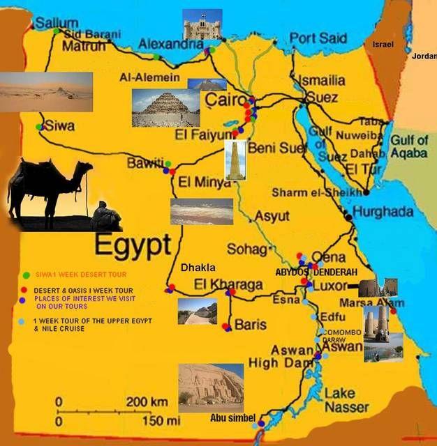 Mapa de monumentos do Egipto