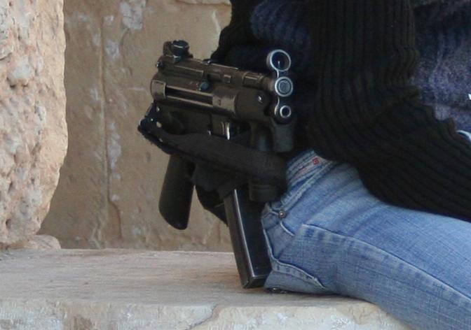 Metralhadora Policia Egipto, Segurança em Luxor, Policias Armados
