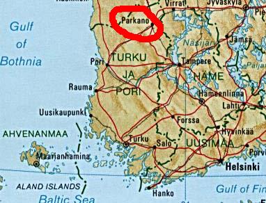 Mapa da Finlandia com a cidade de Parkano