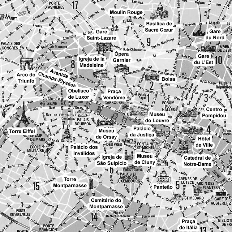 Mapa do Centro de Paris