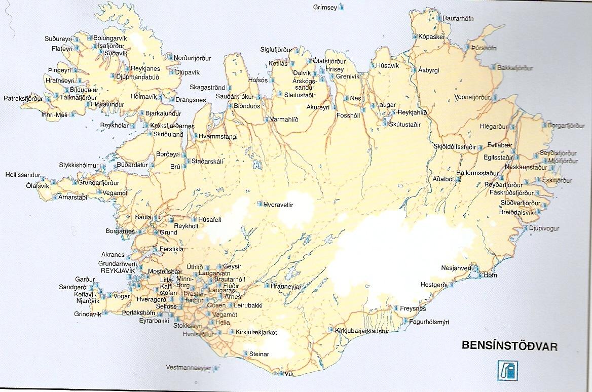 Mapa Bombas de Gasolina na Islândia