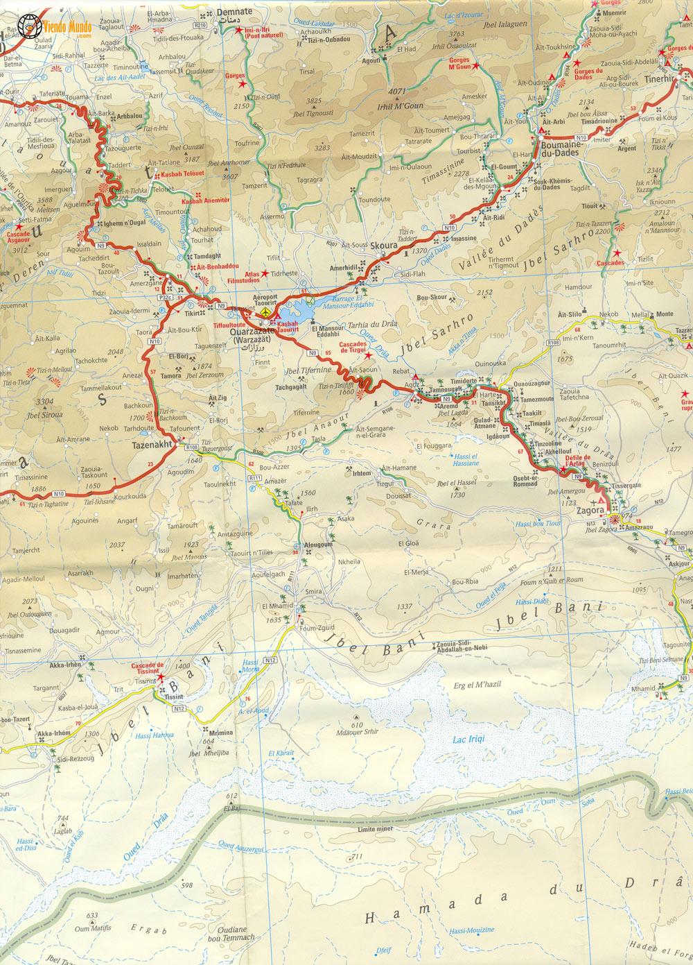 Mapa de Estradas Ouarzazate, Zagora