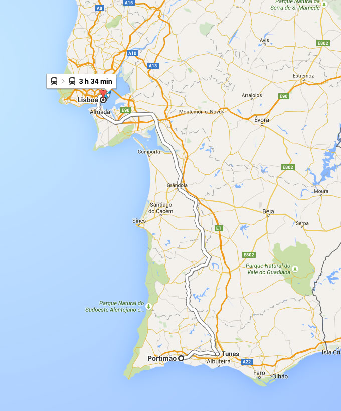 Mapa da percurso de comboio Portimão a Lisboa