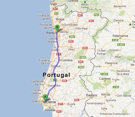 Mapa da percurso de comboio Lisboa Porto