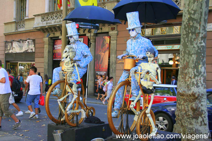 Foto da animação de rua em La Rambla