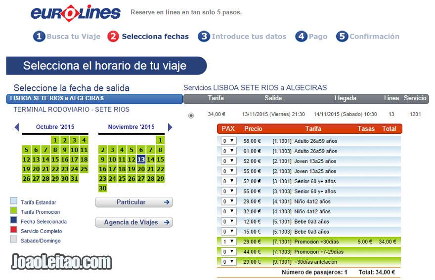 Se comprar o bilhete com 30 dias de antecedência custa 34 Euros