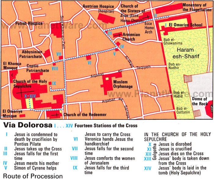 Mapa da Via Dolorosa em Jerusalém