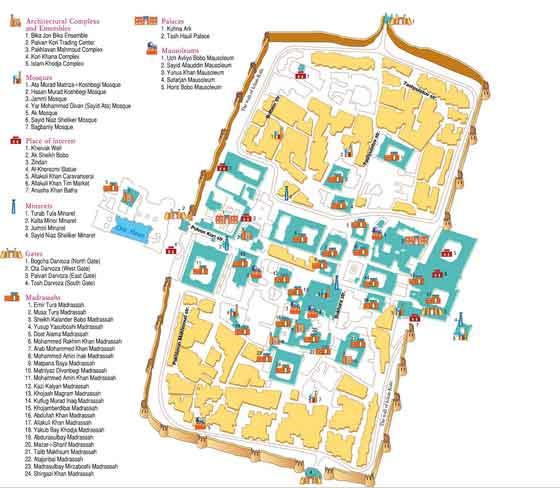 Mapa Monumentos Khiva, Uzbequistão