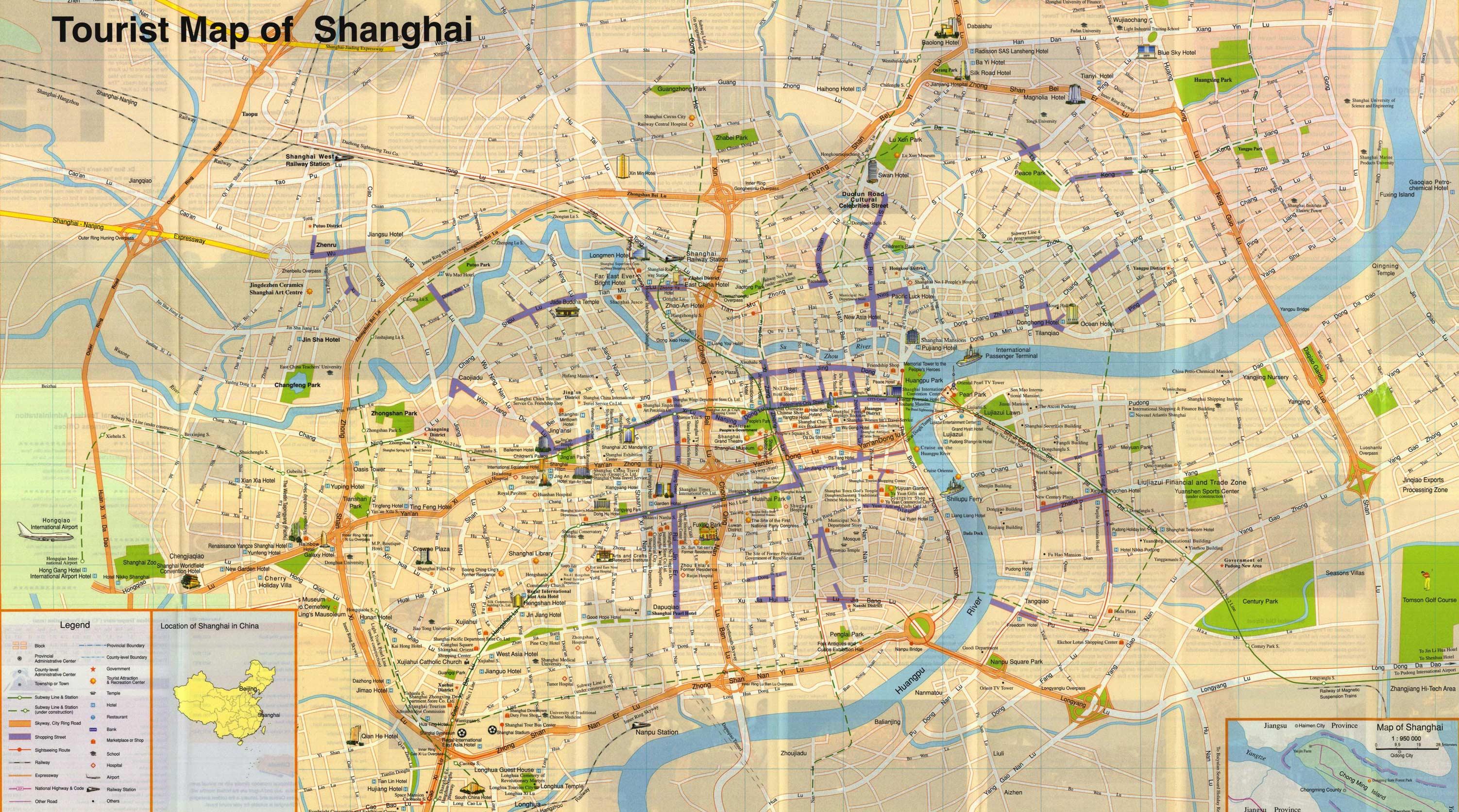 Mapa Monumentos Xangai China