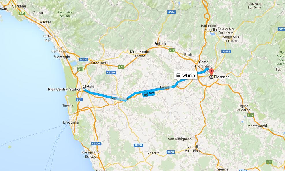 Mapa da percurso de comboio Pisa até Florença