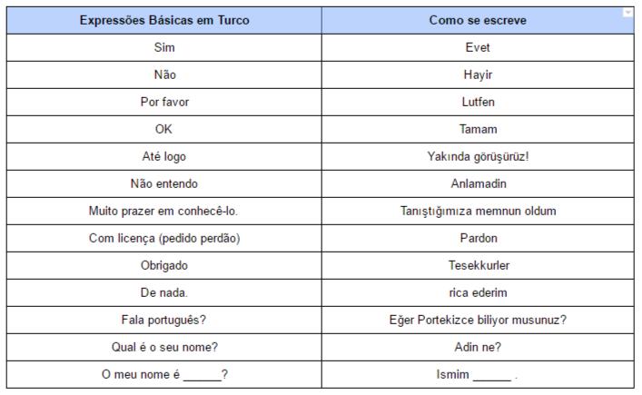 Expressões Básicas em Turco