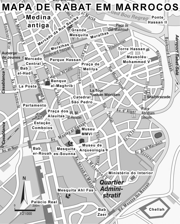 Mapa dos Monumentos de Rabat