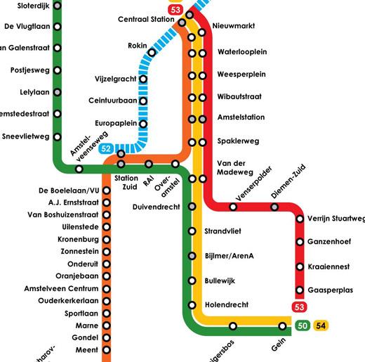 Mapa Metro Amsterdao Holanda