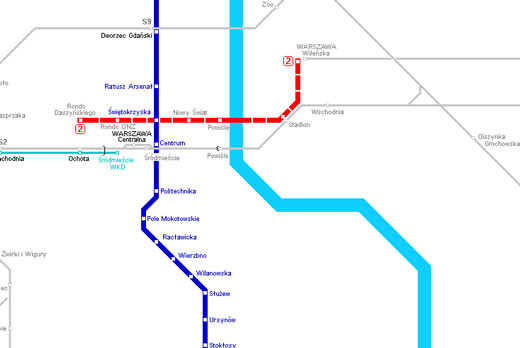 Mapa do Metro de Varsóvia