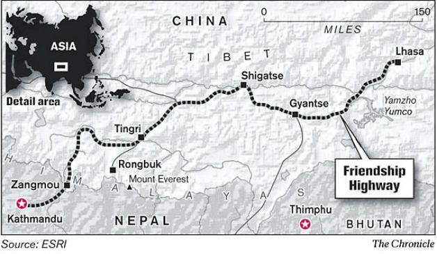 Mapa da Autovia da Amizade - Friendship Highway no Tibete