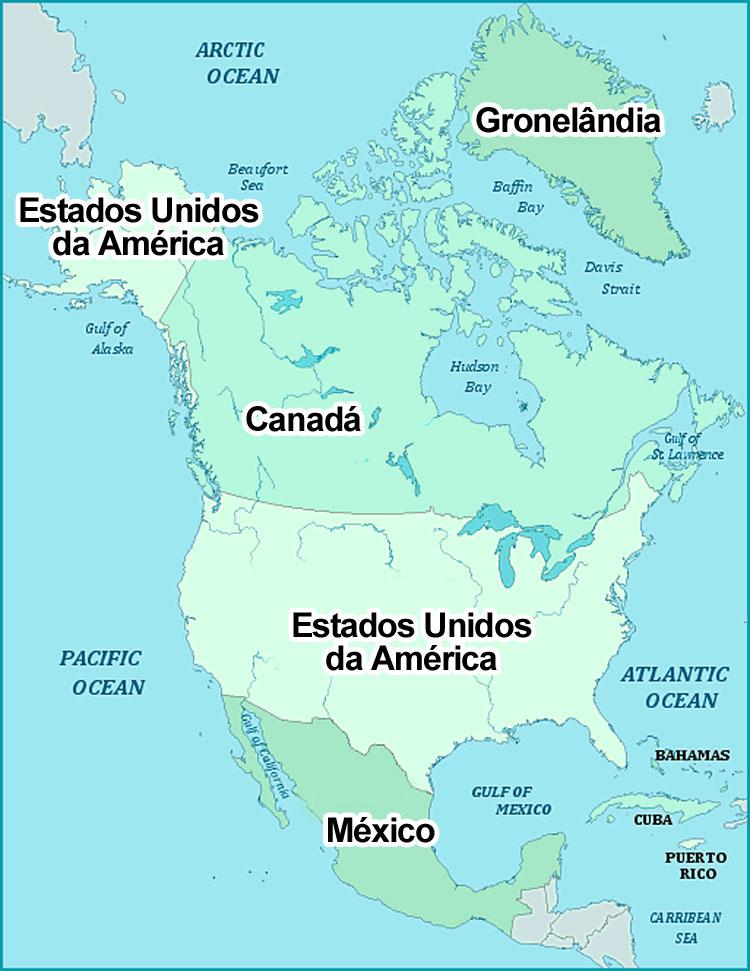 Mapa da América do Norte com os respectivos nomes dos países em português.