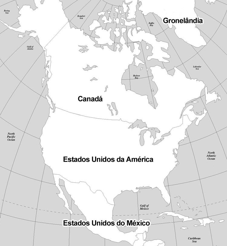 Mapa com todos os países do continente norte americano