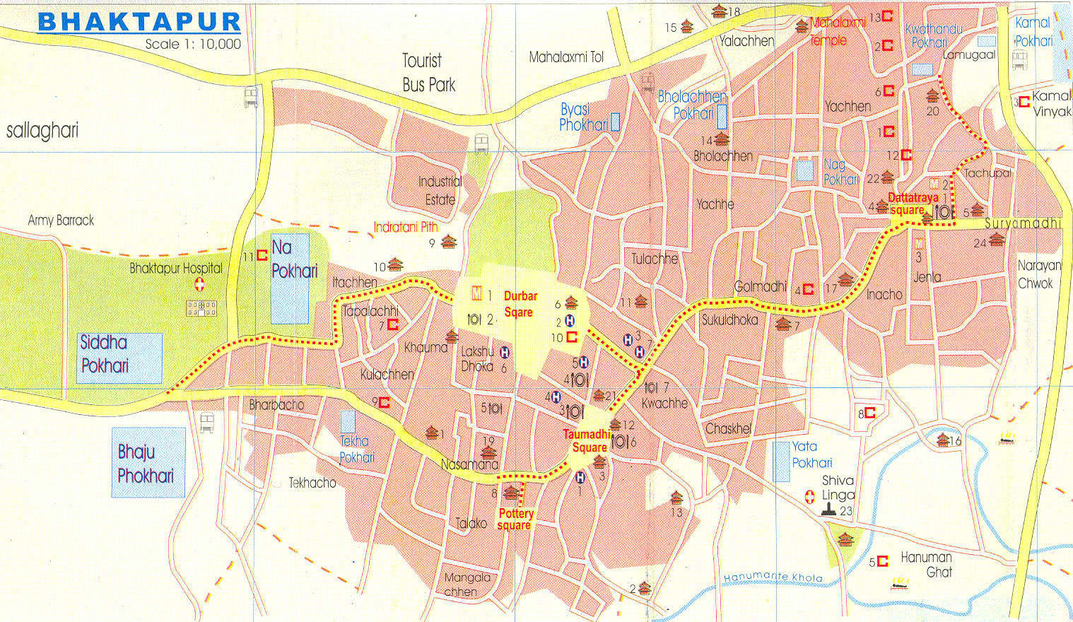 Mapa de Bhaktapur, Nepal