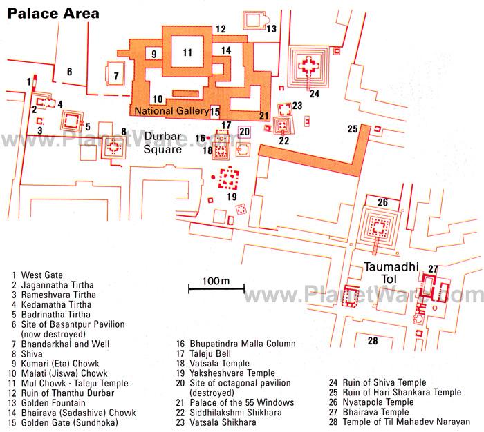 Mapa da Durbar Square em Bhaktapur