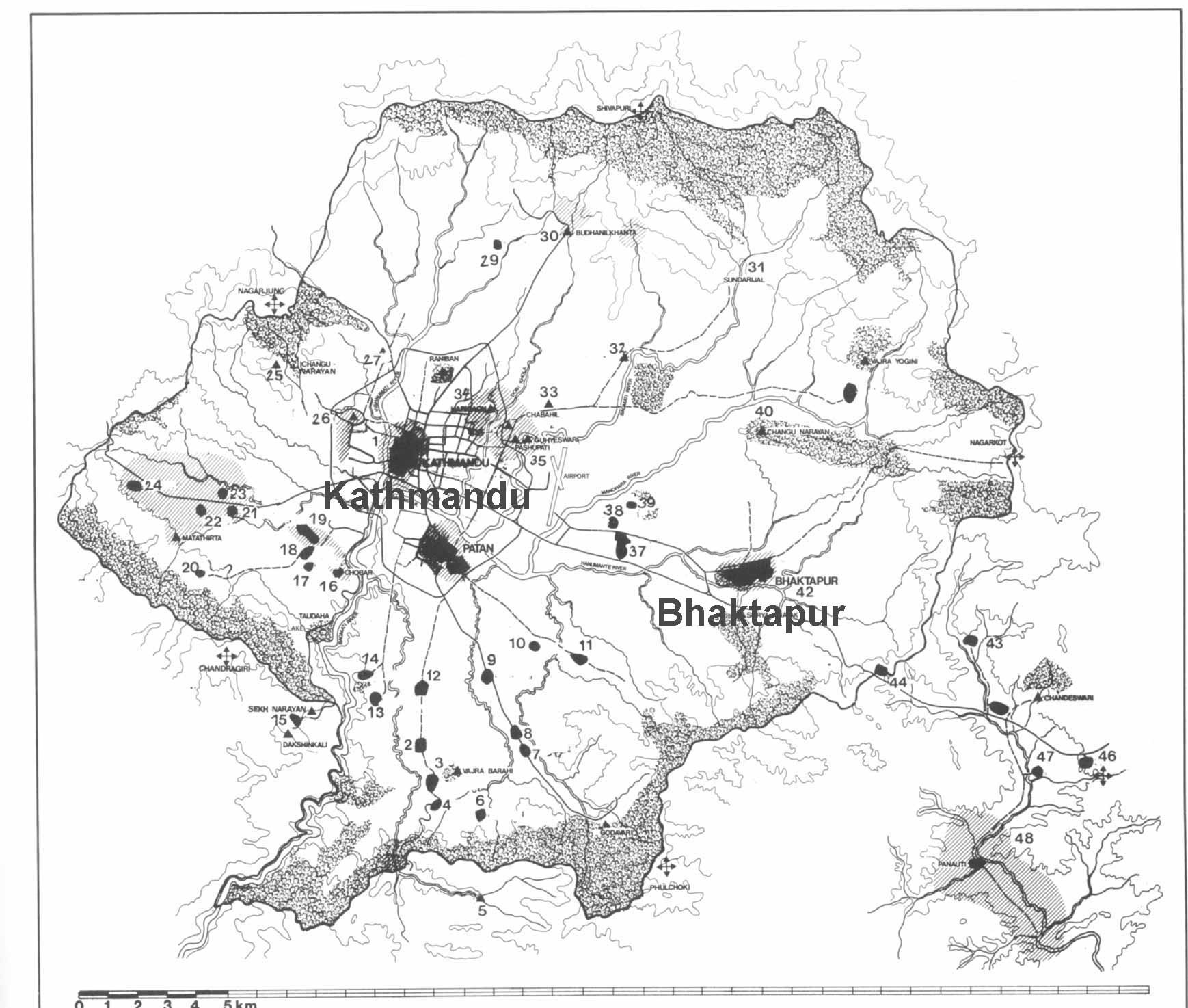 Mapa do Vale de Kathmandu