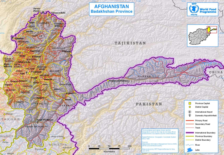 Mapa da Regiao Badakhshan em Afeganistao