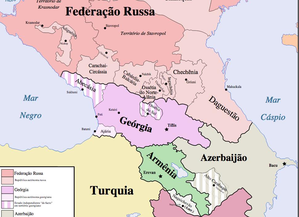 Mapa geopolitico da regiao do Caucaso