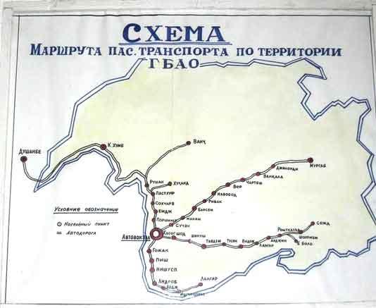 Mapa de Transportes Públicos em Gorno-Badakhshan, Tajiquistão