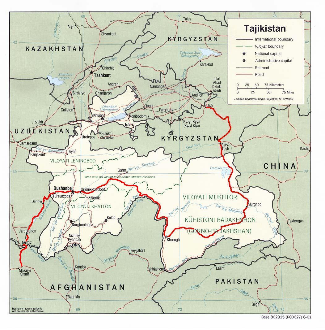 Mapa da Pamir Highway na Ásia Central
