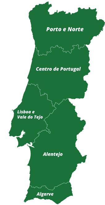 mapa de Portugal e as suas regiões